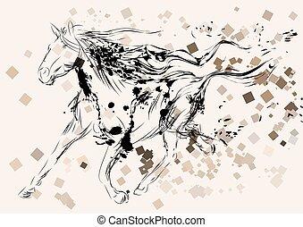 ló, árnykép, elvont