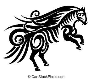 ló, árnykép, törzsi, elszigetelt, fekete, digitális, fehér, rajz