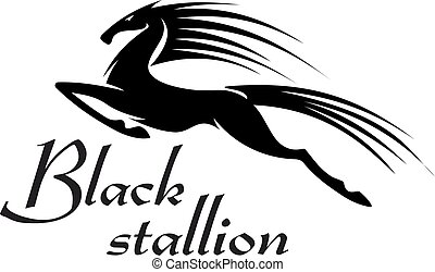 ló, árnykép, ugrás, fekete, tervezés, kabala