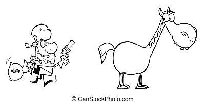 ló, bandita, övé, futás, felé