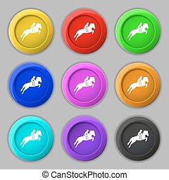 ló, buttons., árnykép, lovaglási, versenyzés, cégtábla., race., jelkép, sport., vektor, kilenc, színpompás, kerek, derby., ikon