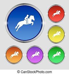 ló, buttons., árnykép, lovaglási, versenyzés, cégtábla., sport., race., kerek, fényes, vektor, színpompás, jelkép, derby., ikon