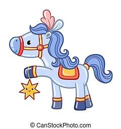 ló, cirkusz, illustration.