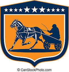 ló, csal, pajzs, hám, retro, versenyzés