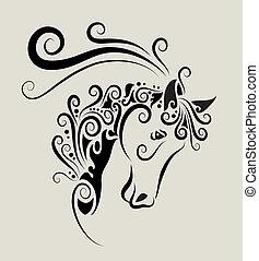 ló, díszítés, fej
