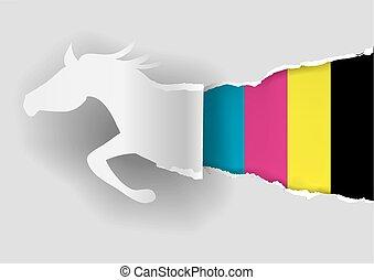 ló, dolgozat, árnykép, hasító