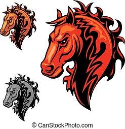 ló, elbocsát, jelkép, lángoló, díszítés, örvénylik