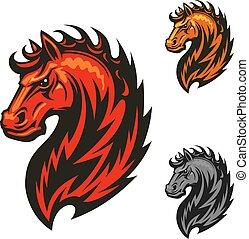 ló, elbocsát, lángoló, fényes, sörény, ikon