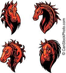 ló, elbocsát, lángoló, fej, tervezés, kabala