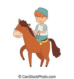 ló elnyomott, ábra, fiú, kantár, ólmozás, kitart fogad, kevés, vektor