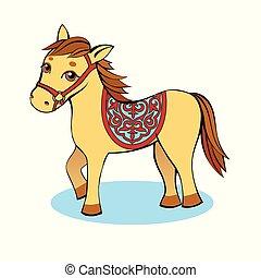 ló, fény, sárga háttér, kicsi, karikatúra