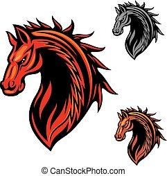 ló, fénylik, elbocsát, törzsi, díszítés, kabala