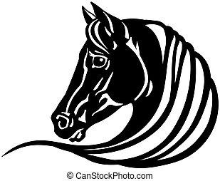 ló, fej, fekete