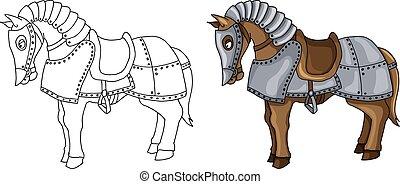 ló, felfegyverez, betű, elszigetelt, ábra, karikatúra, illeszt, fehér, háború