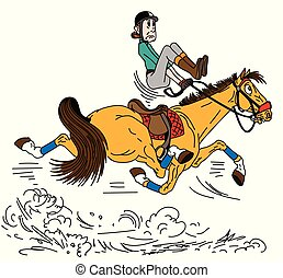 ló, futkosó, karikatúra