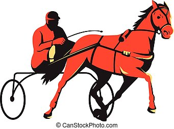 ló, hasznosít fut, retro, kordé