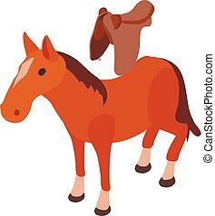 ló, ikon, isometric, mód, megnyergelt