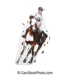 ló, illustration., idomítás, equesterian, előadás, elszigetelt, sport, polygonal, vektor, alacsony, lovaglás, ugrás