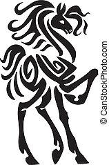 ló, illustration., törzsi, -, mód, vektor
