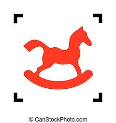 ló, játékszer, isolated., kanyarodik, cégtábla., összpontosít, háttér., fekete, vector., fehér, belső, piros, ikon