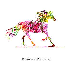 ló, jelkép, díszítés, skicc, év, virágos, 2014, -e, design.