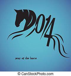 ló, kínai, jelkép, vect, év, 2014