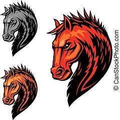ló, lovaglási, elbocsát, jelkép, lángoló, sport