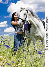 ló, lovaglási, kaszáló