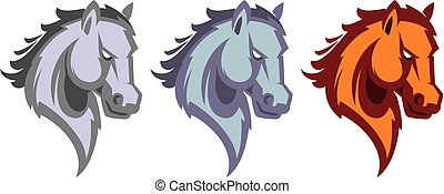 ló, mascot., logotype., fej, amerikai félvad ló, sport