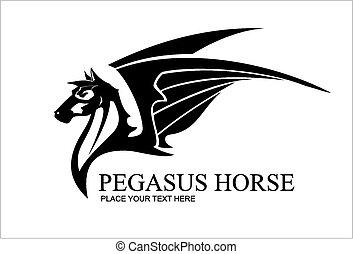 ló, pegazus, fekete, fej, wh