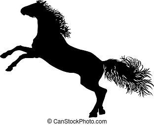 ló, rajz, árnykép, álló, fekete