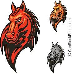 ló, sportszerű, lángoló, fej, tervezés, kabala