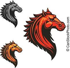 ló, sportszerű, lángoló, tervezés, vad, amerikai félvad ló