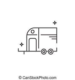 ló, style., lakás, ikon, vontatott lakókocsi, kúszónövény, travel.