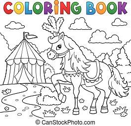 ló, színezés, cirkusz, könyv