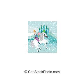 ló, tél, hercegnő, nap, lovaglás, herceg