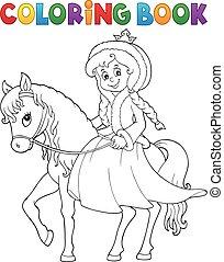 ló, tél, színezés, hercegnő, könyv