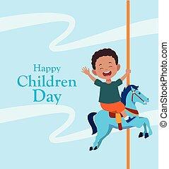 ló, tervezés, fiú, gyerekek, boldog, színes, nap, körhinta