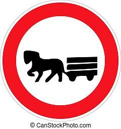 ló, tiltott, húzott, vektor, jármű, illustration., cégtábla.