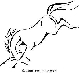 ló, vektor, bakugrás, fekete, fehér, vázlat