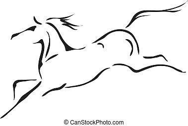 ló, vektor, fekete, fehér, vázlat