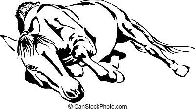 ló, vektor, fekete, gördülő, fehér, vázlat