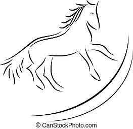 ló, vektor, kép, háttér, fehér