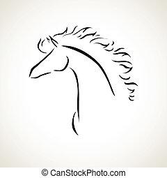 ló, vektor, rajz