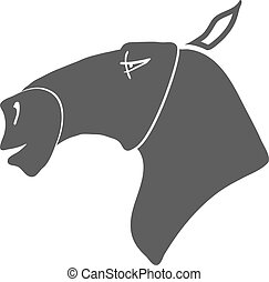 ló, vektor, silhouette., fej, karikatúra