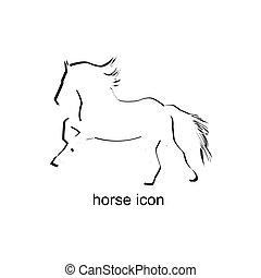 ló, white háttér, ikon
