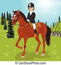 ló, woman ül, fiatal, szabadban, kaukázusi, beautidul
