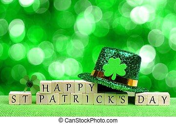 lóhere, eltöm, fából való, felett, rétegfelhő, csillogás, patricks, zöld háttér, leprechaun kalap, nap, boldog