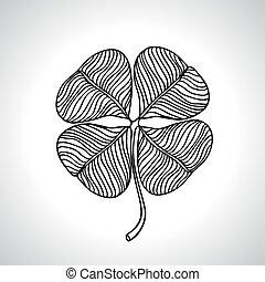 lóhere, levél növényen, isolated., makro, ábra, vektor, fekete, természetes