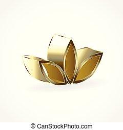 lótusz, jel, virág, arany
